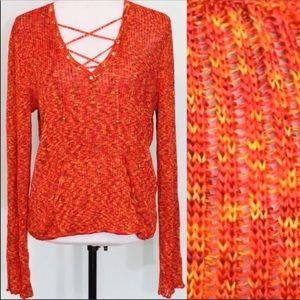 St. John Sport orange knit sweater blouse large